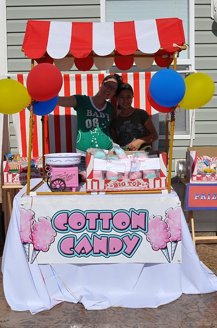 Seeing this...I would transform a lemonade stand into a cotton candy one and make them more pastel color...to go with the cotton candy party!