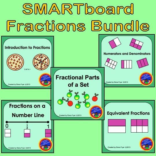 5 SMARTboard Lessons on Fractions. These are great for 3rd grade. Topics include: Introduction to Fractions, Numerators and Denominators, Fractional Parts of a Set, Fractions on a Number Line and Equivalent Fractions. $