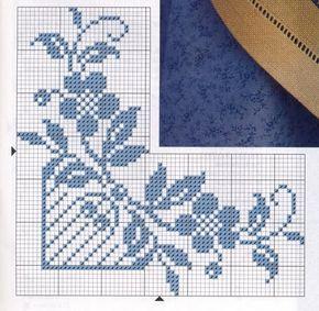 Punto de Cruz: Cenefas para manteles en Azul.   A DARK WORLD OF MYSELF