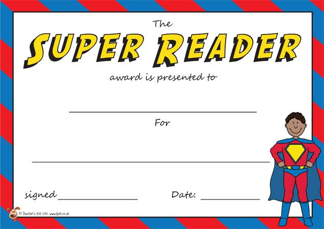 Teacher's Pet - The Super Reader Award Certificate - FREE Classroom Display Resource - EYFS, KS1, KS2, awards, certificates, reading, reader