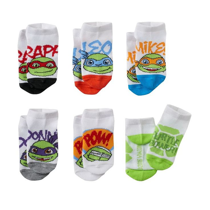 Toddler Boy Teenage Mutant Ninja Turtles 6-pk. Low-Cut Socks, Size: 2T-4T, White