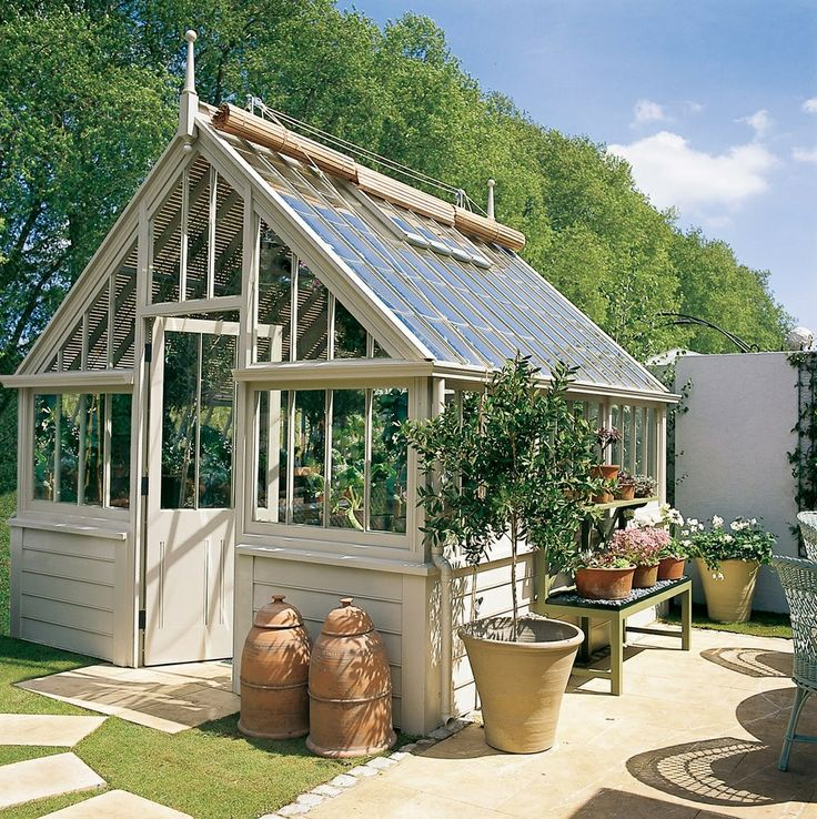 marston langinger greenhouse with cedar blinds