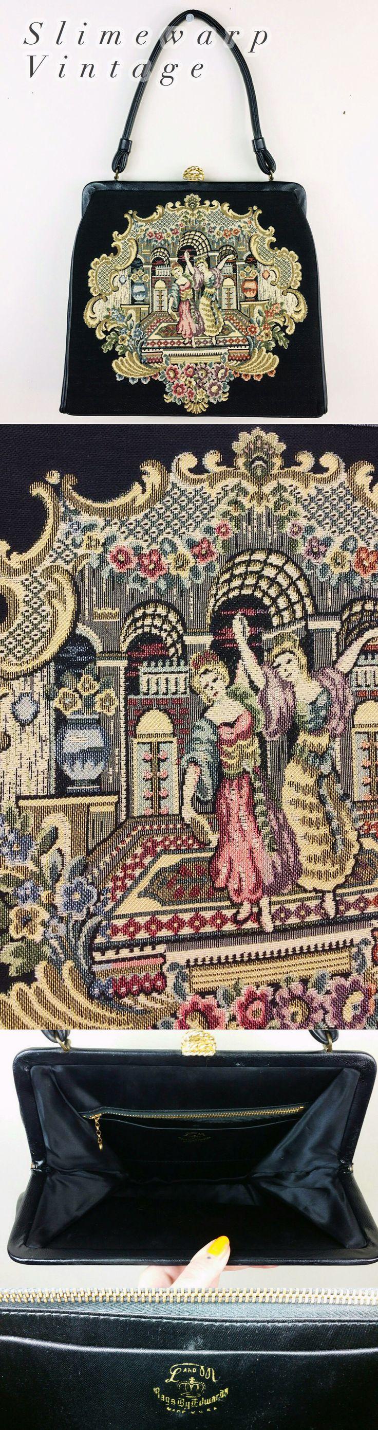 Vintage 1950s Victorian Tapestry Handbag Purse.