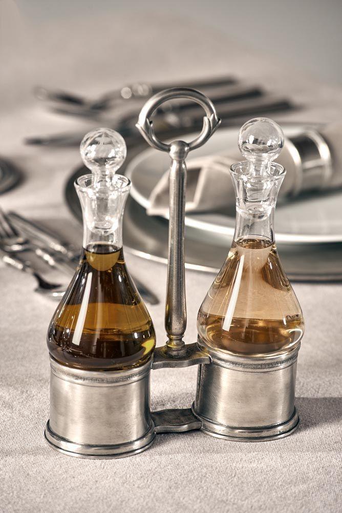 Pewter & Glass Oil & Vinegar Cruet Set - Length: 17 cm (6,7″) - Height: 24 cm (9,4″) - Food Safe Product - #pewter #glass #oil #vinegar #cruet #set #peltro #vetro #oliera #olio #aceto #zinn #glas #menage #Öl #essig #étain #etain #cristal #huilier #vinaigriere #peltre #tinn #олово #оловянный #tableware #dinnerware #table #accessories #decor #design #bottega #peltro #GT #italian #handmade #made #italy #artisans #craftsmanship #craftsman #primitive