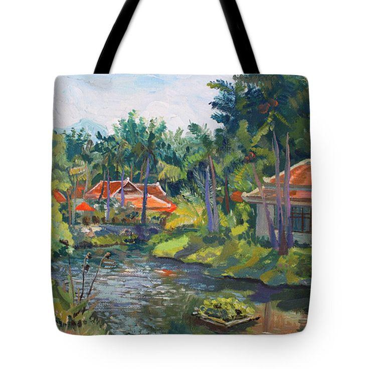 SAMUI LIFE by ALINA MALYKHINA.  Belongs to the Gallery RUSSIAN ARTISTS NEW WAVE. #RussianArtistsNewWave #AlinaMalykhina #Water #Summer #Love #Joy #Art #Painting #ArtForHome #Prints #Samui #Thailand #Travel #Leisure #Bag #ToteBag