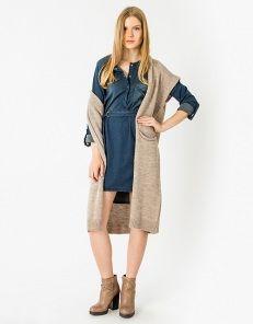 Denim dress with mao neckline