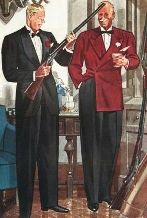 1930s mens formal wear tuxedo and dinner jacket at VintageDancer.com