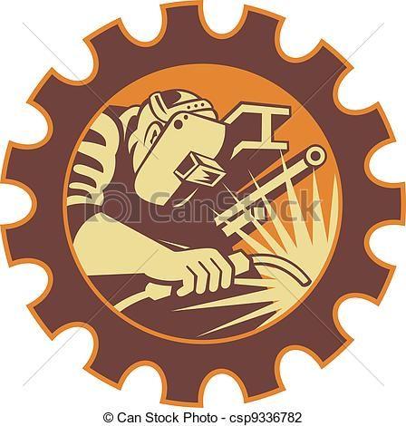 Vector Illustration of Welder Worker Welding Torch Retro - Illustration of a welder... csp9336782 - Search Clipart, Illustration, Drawings, and EPS Clip Art Graphics Images