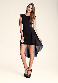 Mesh+Hi-Lo+Ruffle+Dress