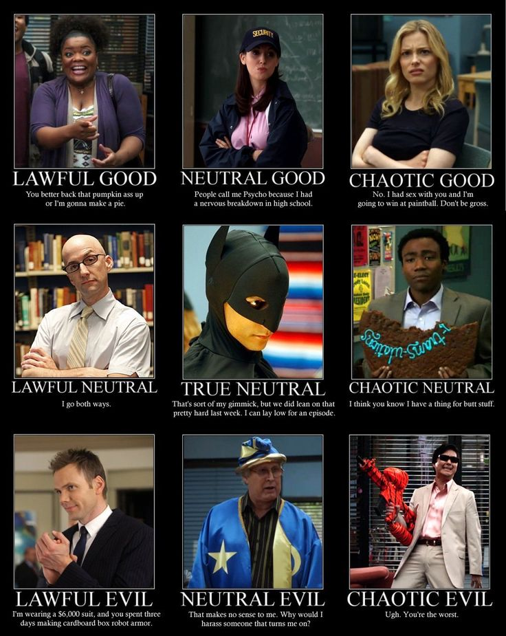 "A friend put me on one of these charts not too long ago; she listed me as ""chaotic good"", which puts me on par with Britta. Which I'm sort of okay with."