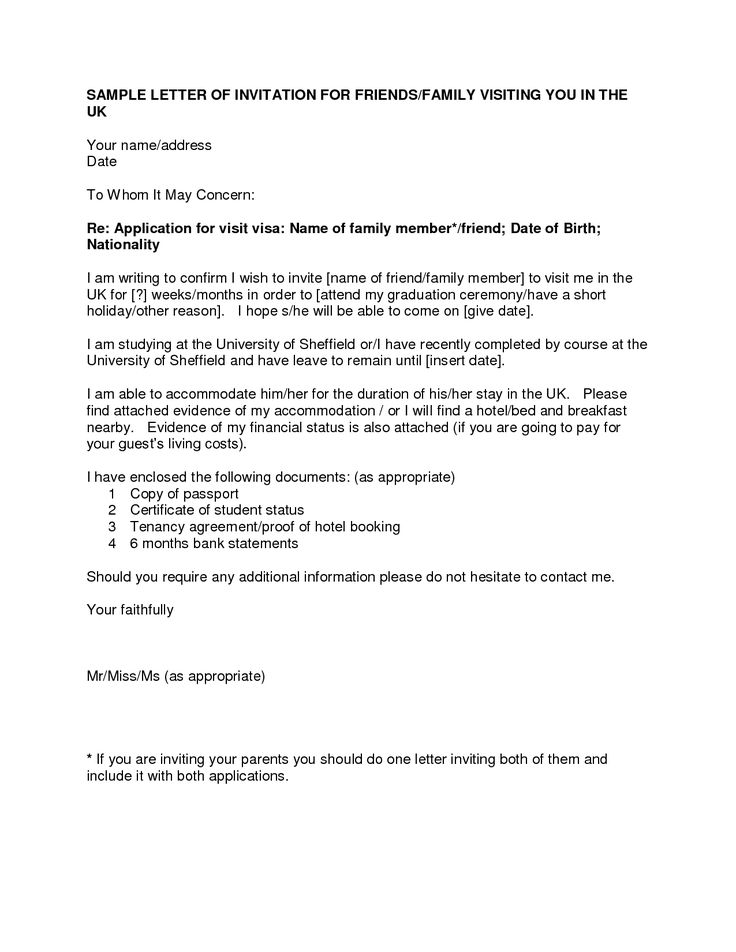 letter of invitation for uk visa templatevisa invitation letter to a friend example application