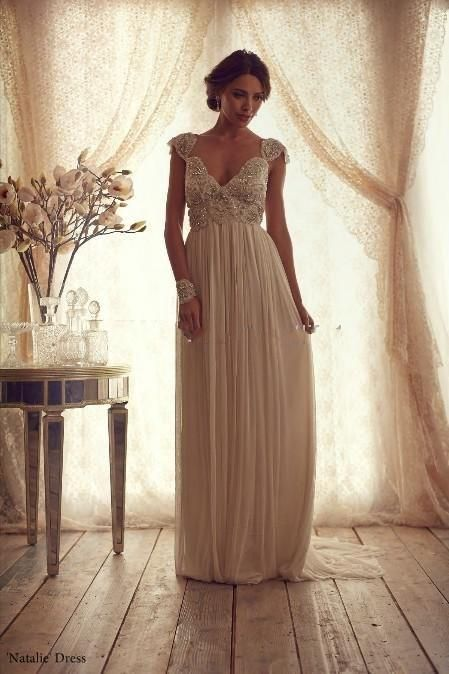 Bm high quality 2015 vintage sheath wedding dresses sheer for Anna campbell vintage wedding dress