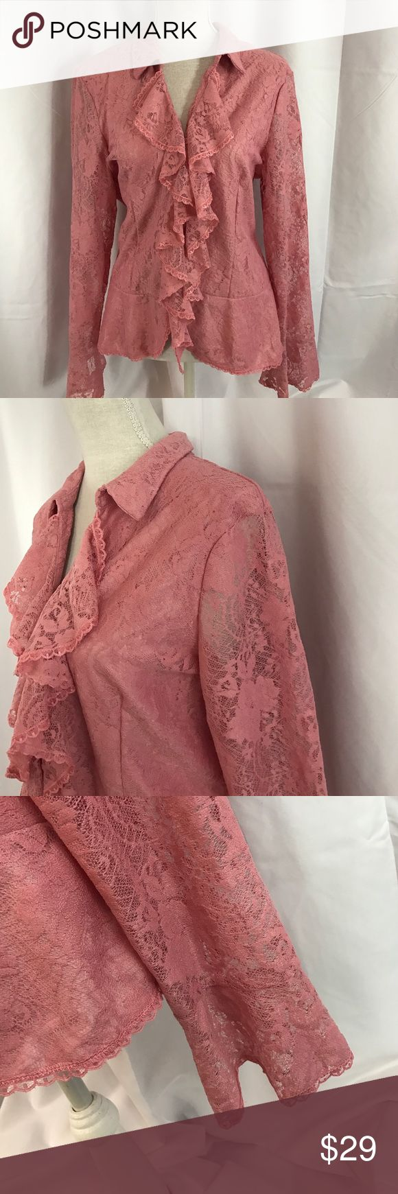 NWT Dialogue by QVC pink lace ruffle button down NWT Dialogue by QVC szXL pink lace ruffle button down top... Dialogue Tops Button Down Shirts