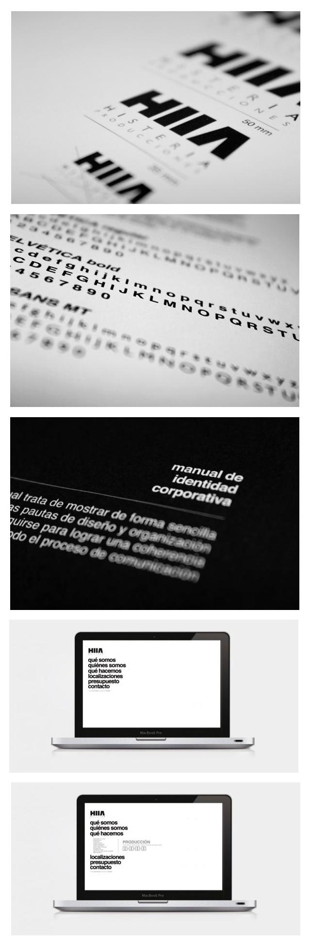 "Desarrollo imagen corporativa (Logotipo, manual de identidad corporativa, diseño web) para la productora audiovisual ""Histeria Producciones"". #branding #identity #design #graphicdesign #brand #company #manual"