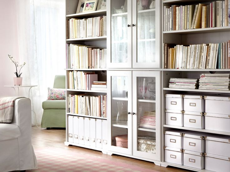 BORGSJÖ white bookcases and cabinet with tempered glass doors