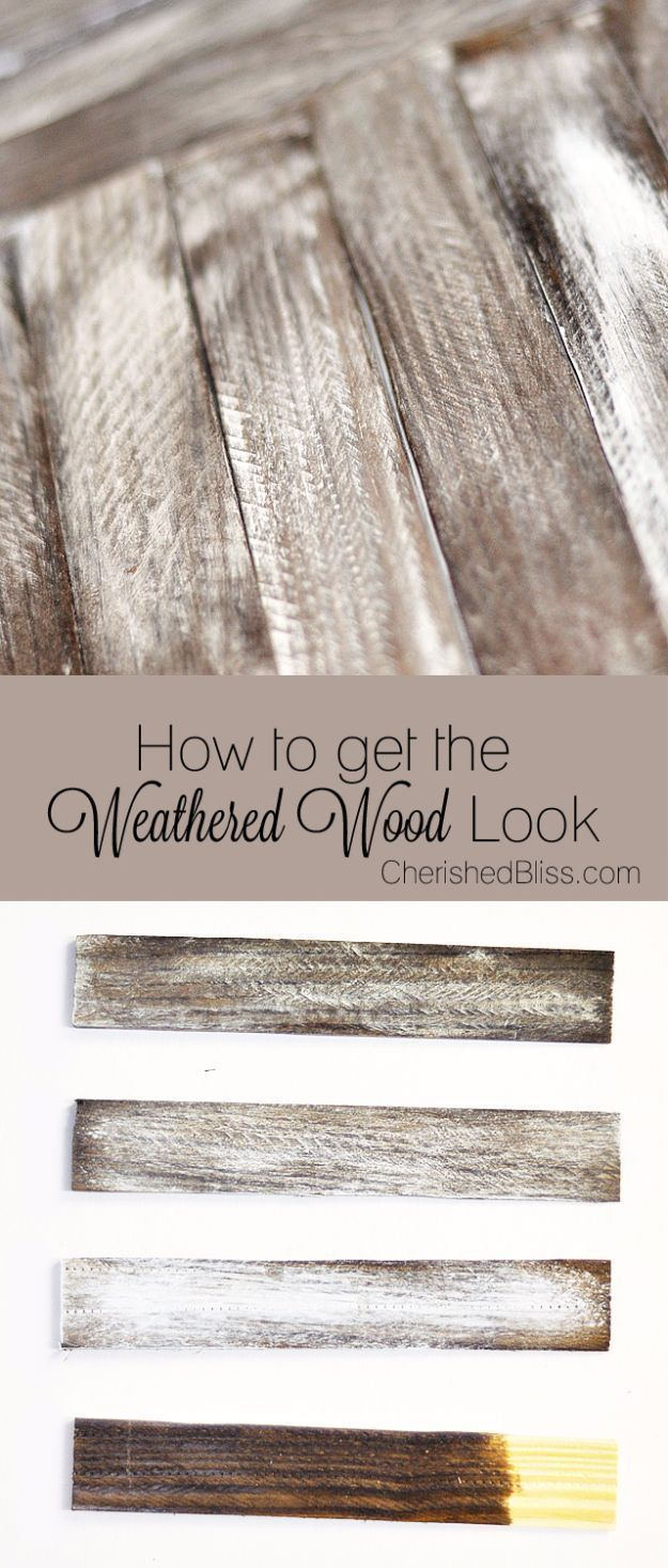 Cool Woodworking Tips - Get The Weathered Wood Look - Easy Woodworking Ideas, Woodworking Tips and Tricks, Woodworking Tips For Beginners, Basic Guide For Woodworking - Refinishing Wood, Sanding and Staining, Cleaning Wood and Upcycling Pallets - Tips for Wooden Craft Projects http://diyjoy.com/diy-woodworking-ideas #CoolBeginnerWoodworkingProjects #woodworkingtips