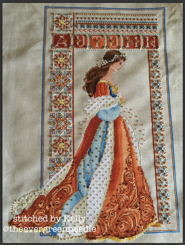 """""""Celtic Autumn"""" by Lavender and Lace, (conversion) 28ct Mushroom lugana"""