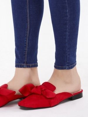 4d8911354 Buy Bow Detail Flat Mules For Women - Women's Red Flat Shoes Online in India