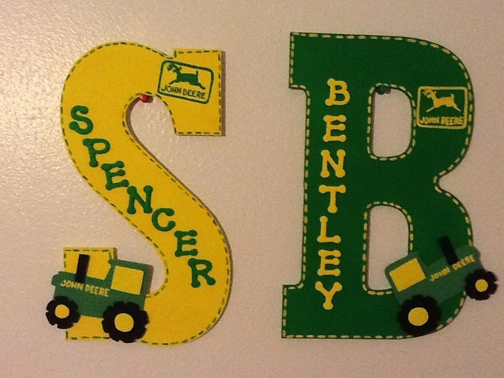 John Deere 13 Quot Kids Letter With Smaller Name Personalized Homemade Nursery Decor Wall Letters