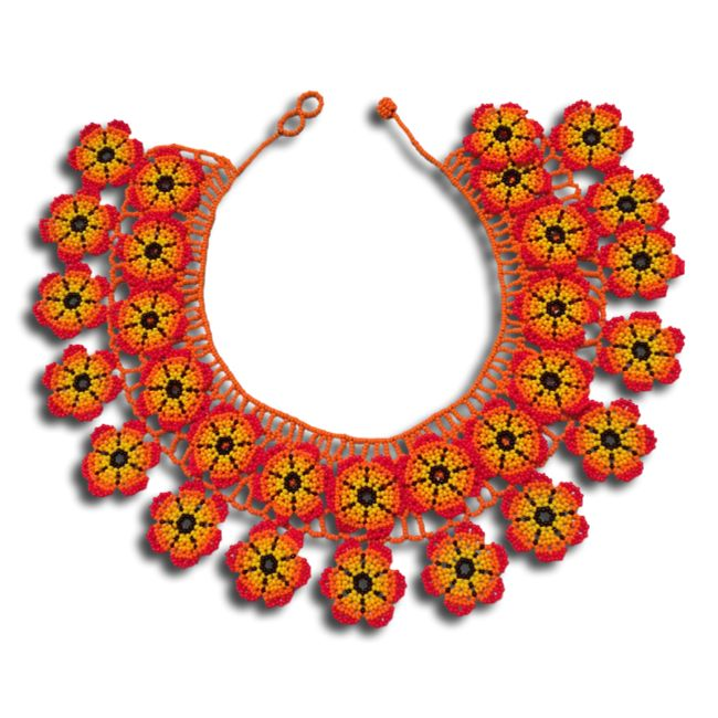 Embera Chami Puru statement choker necklace made of yellow flowers. Add some color to your little black dress or dress-up a casual tank top. Circumference: 15 inches in ball and loop closure.