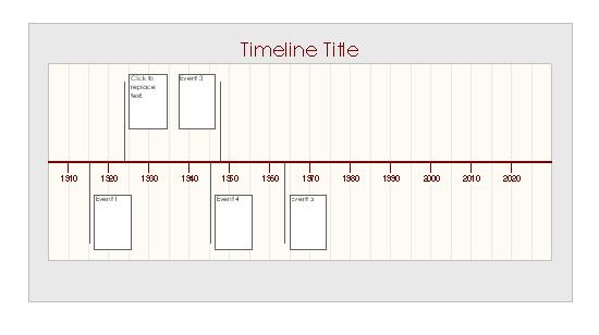 MS Excel Timeline Template. Create a timeline for a project or period in history with this template. It uses vertical lines to point to a box with details about the specific point in time. Free template download.