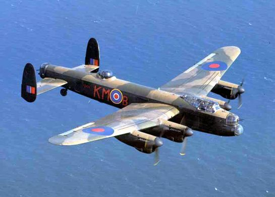 Beautiful Avro Lancaster.  Considered Britain's greatest bomber for WW2.  Main aircraft used for night assaults on Germany.  Four engines allow the plane to fly at 462km/h, and the heavy bomber delivered a bigger bombload than any other plane in Europe- 6350kgs to be exact.    One of my familys favourite planes.