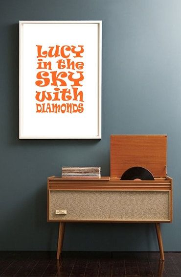 Interesting simple, minimalistic music poster in old, mid century style. Inspired by The Beatles song from 1967. Great for decorating your living room, office, workshop, bedroom.