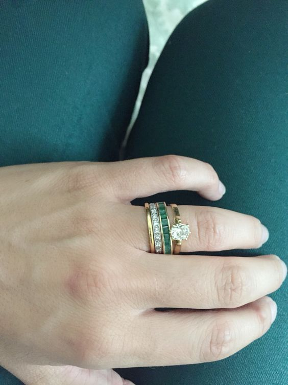 Vintage emerald green and yellow gold! Old mine cut diamond solitaire engagement ring stacked with an emerald eternity…
