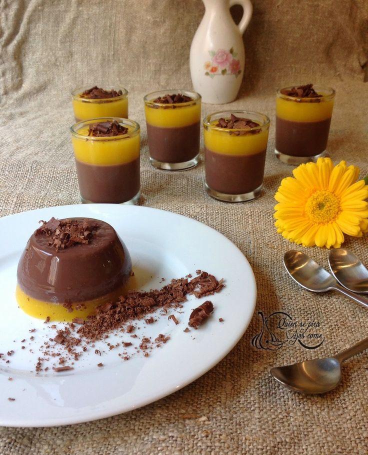Quien Se Pica Ajos Come : Panna cotta de Chocolate y Mango