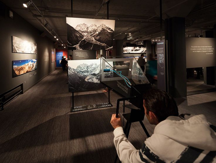 The exhibition juxtaposes maps, panoramic images, large-scale prints, and projections of historic and contemporary photographs with human-scale artifacts such as climbing gear and notebooks. Rivers of Ice. (thincdesign.com) Standing before these photographs, objects, and maps, visitors gain new perspectives on one of the most challenging environments on the planet.