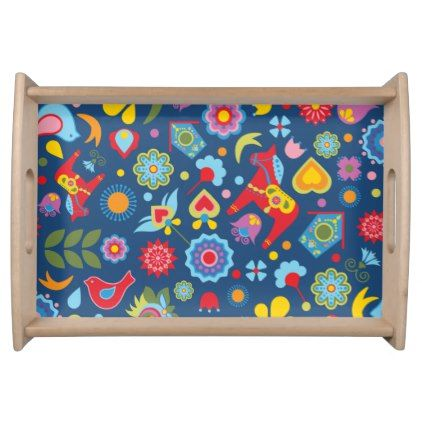 Scandinavian Folk Art Garden Floral Cushion Serving Tray - floral style flower flowers stylish diy personalize