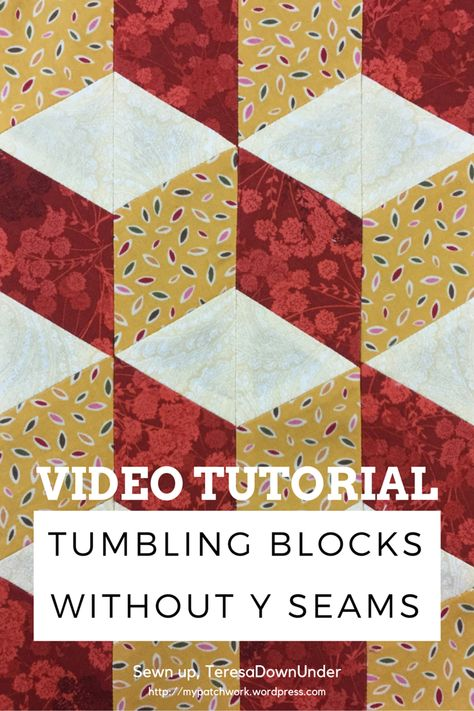 """Tumbling blocks without Y seams. Colored fabric is 2 1/2"""" wide. White is 3"""" wide."""