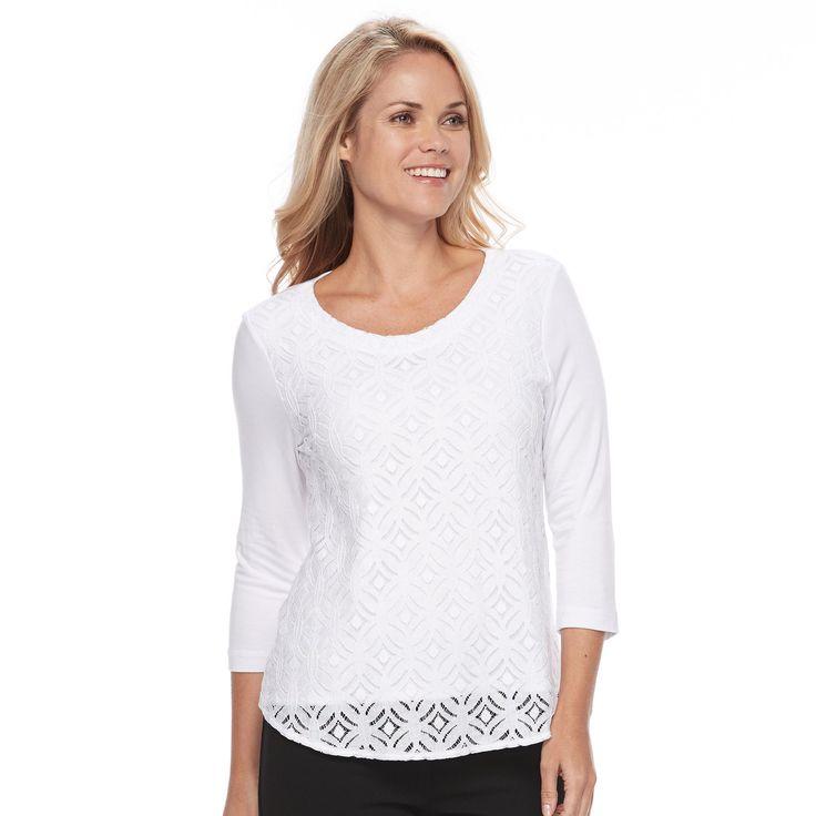 Petite Croft & Barrow® Lace-Front Tee, Women's, Size: Xs Petite, White
