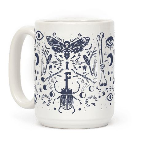 Respect the Earth and the Earth will respect you. Collect your treasures and witchy wants in celebration with this occult musings coffee mug design with natural elements like beetles, death dead moth, sticks, teeth, runes and more! Perfect for anyone looking for something spooky but mystically wonderful.
