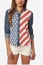 BDG American Flag Chambray Button-Down Shirt