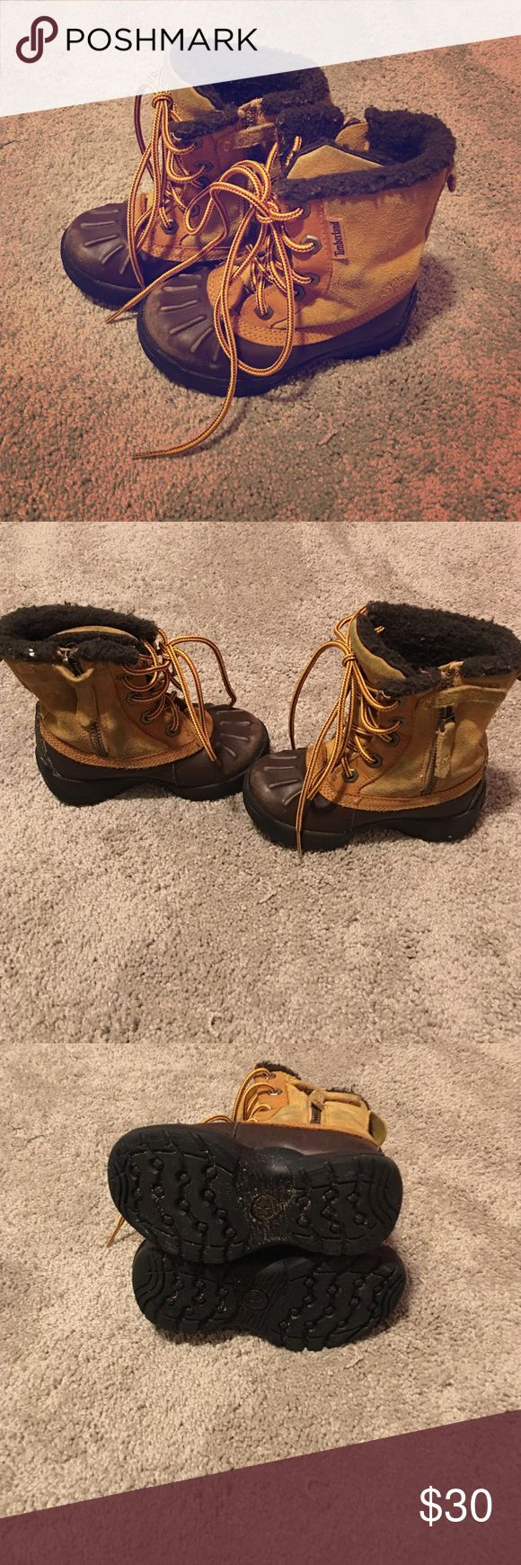 Size 7 Toddler Timberland Boots Good preowned condition, could use a light cleaning.  Some scuffing on toes.  Soles are in excellent condition.  Toes have some scuffing, could use a polish.  New laces.  Will consider reasonable offers. Timberland Shoes Boots