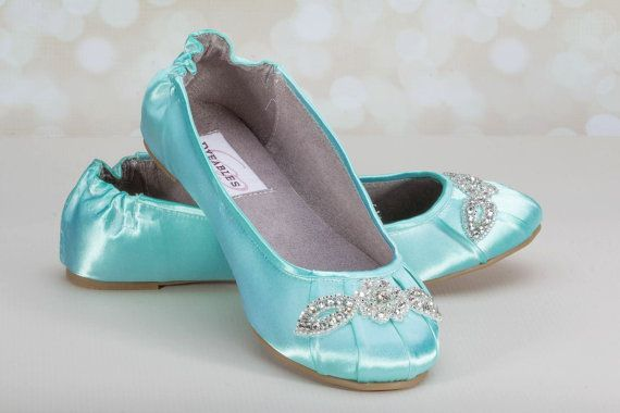 Something blue Wedding Shoes Ballet Flats Tiffany Blue Crystals by Parisxox