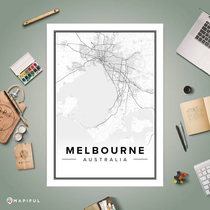 A map poster from Mapiful.com. A creative DIY tool to make your own map poster. This is 'Melbourne'