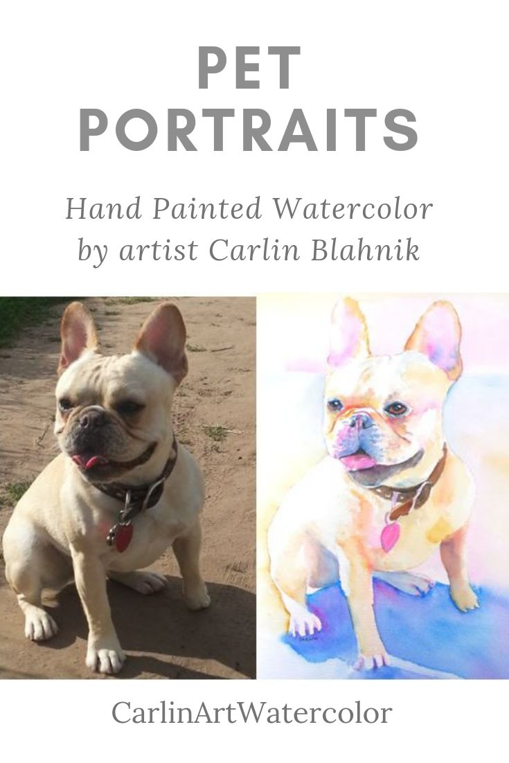 Custom Pet Portrait. Hand painted Watercolor by artist