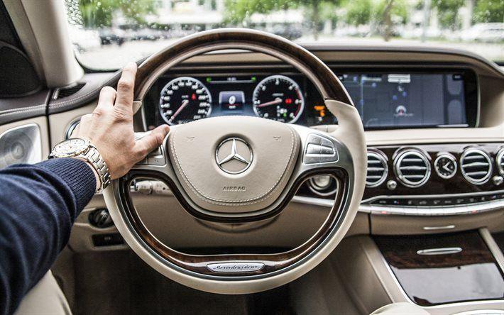 Scarica sfondi Mercedes-Benz s-class, w222, Volante, cruscotto, pelle bianca, Mercedes