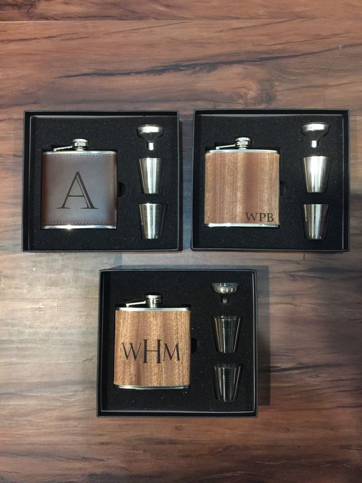 Flask, Personalized Flask, Leather Flask, Wood Wrap Groomsmen Flask, Gift Set Wedding Party Gift Monogrammed Hip Flask Groomsman Gift Set by LasersNStuff on Etsy https://www.etsy.com/listing/262158707/flask-personalized-flask-leather-flask