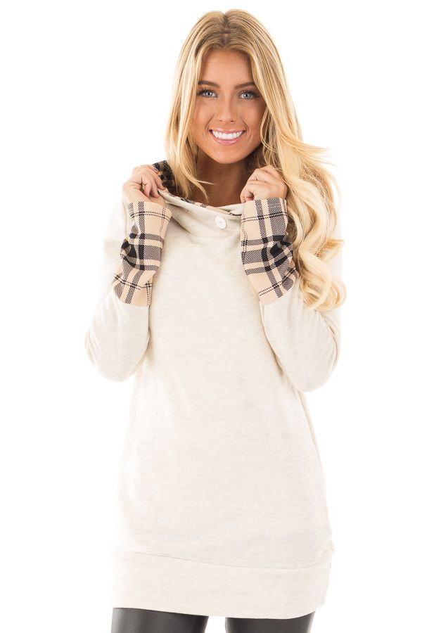 Lime Lush Boutique - Oatmeal Knit Hoodie with Plaid Accent Cuffs and Hood , $38.99 (https://www.limelush.com/oatmeal-knit-hoodie-with-plaid-accent-cuffs-and-hood/)
