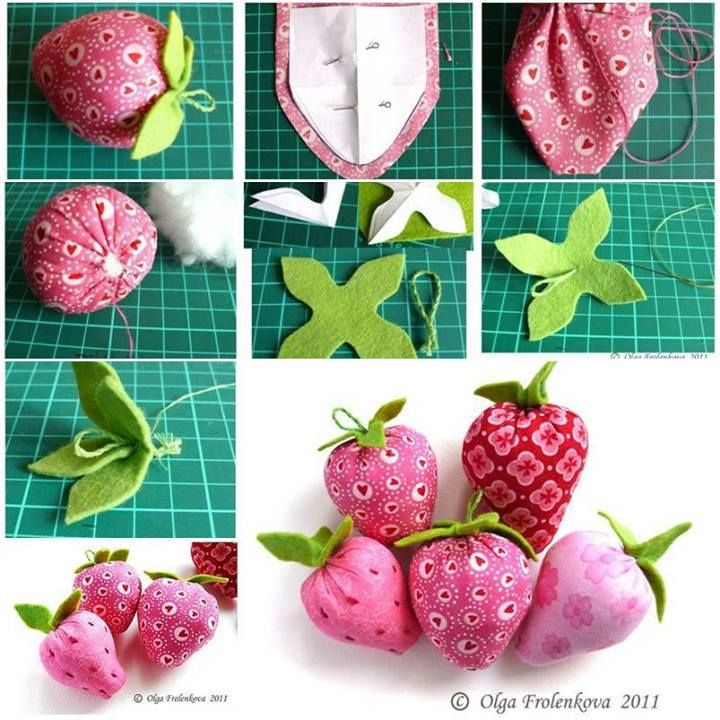 Erdbeeren aus stoff