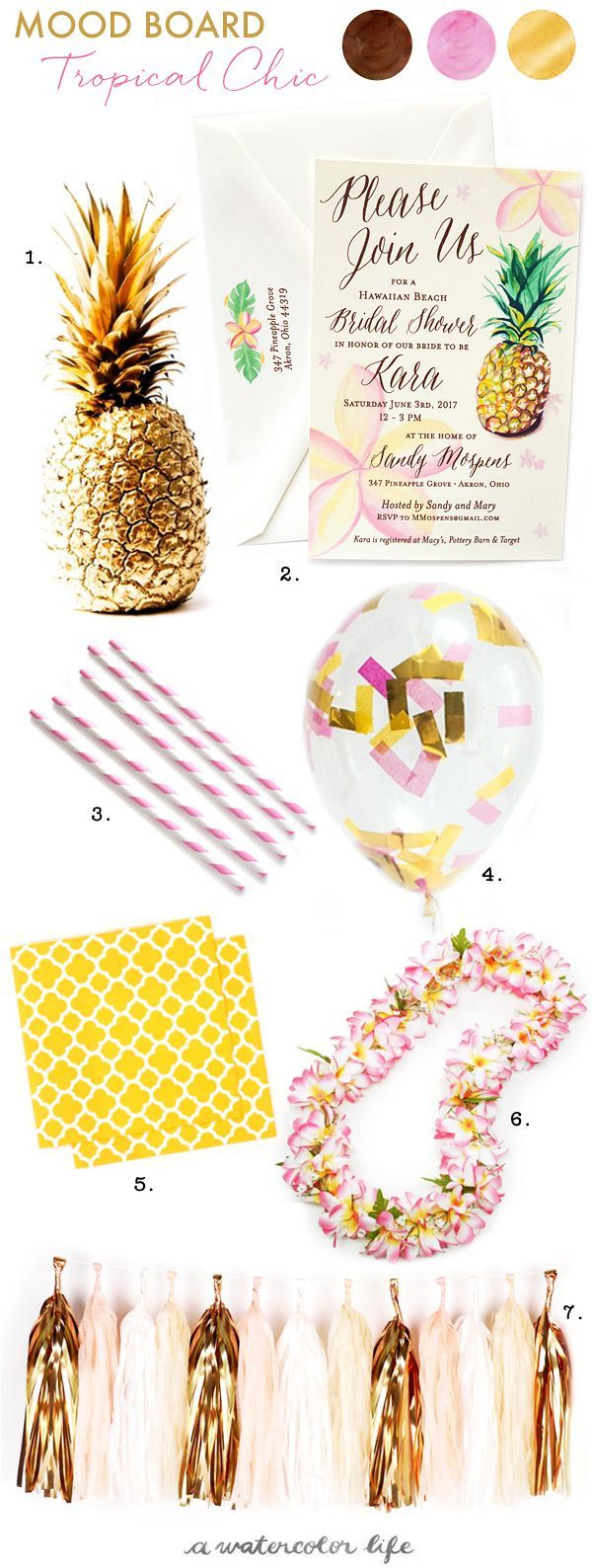 Fun and flirty! Tropical Hawaiian Chic Bridal Shower Ideas complete with pineapples and plumeria flowers. - www.awatercolorlife.com