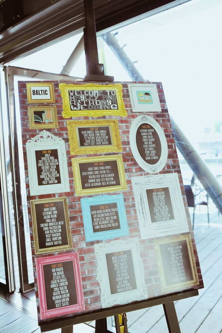 Wedding table plan using a vintage photo frame for each table. http://www.helenrussellphotography.co.uk/