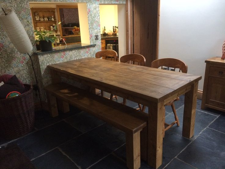 One Of Our Rustic Plank Table And Chairs In A Customers Home. Cobwebs  Furniture Company