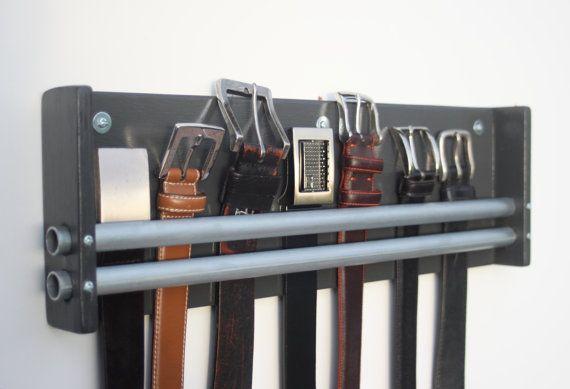 Belt Rack, Tie Organizer by WoodButcherDesigns on Etsy  https://www.etsy.com/listing/262399112/belt-rack-tie-jewelry-hanger-organizer?ref=shop_home_active_11