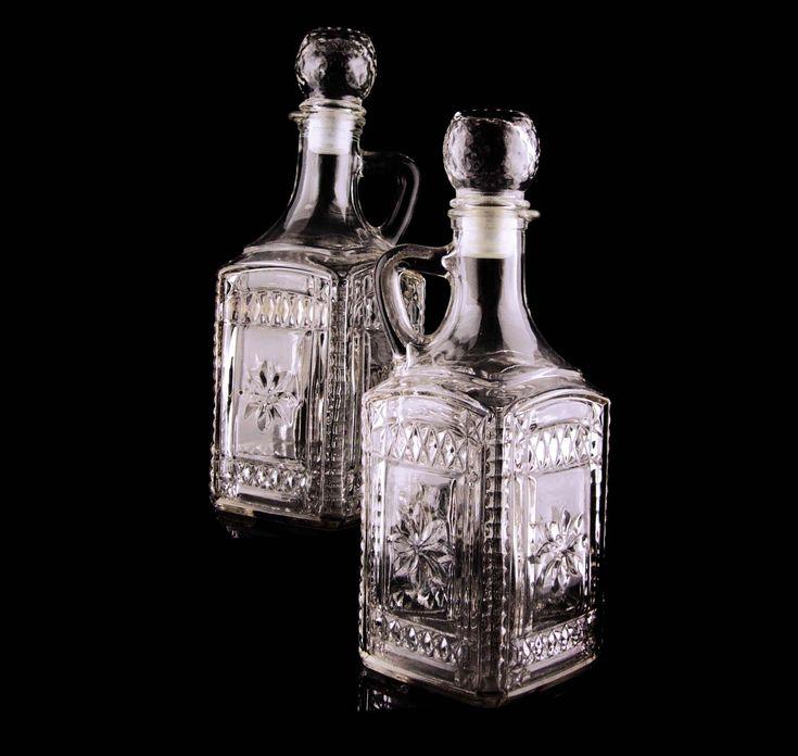 Vintage Whiskey bottle set fancy glass cruets wedding gift