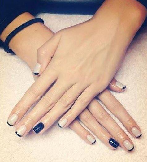 Simple manicure beige black