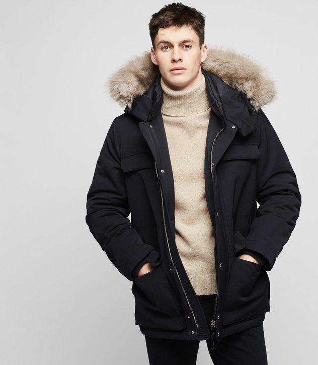 REISS - RENEGADE Faux-fur hooded parka